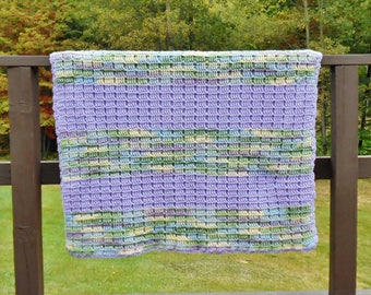 Crochet Blanket Purple Green Camo Stripe Afghan Throw Twin Daybed Cover Waffle Stitch Handmade Warm Bulky Knit
