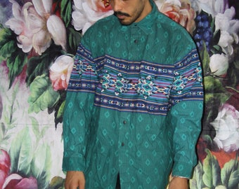 Hip Hop Rap Rapper Fresh Prince VTG 90s Graphic South West Tribal Button Up Novelty Abstract Dress Shirt  - 90s Clothing - MV0577