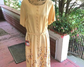 Vintage 1950s Dress Deadstock Never Worn W/Original Tag Lane Bryant-LINAIR 100% Rayon Light Yellow Cream Floral Embroidery Plus Size Vintage