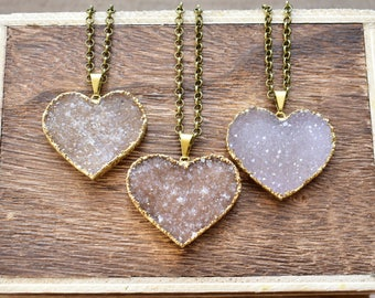 X-Large Gold Brass Heart Druzy Necklace/ Natural Crystal Quartz Druzy Stone/ Must Have Gift Stylish Fashion Layering Piece (EP-BND14-XL)