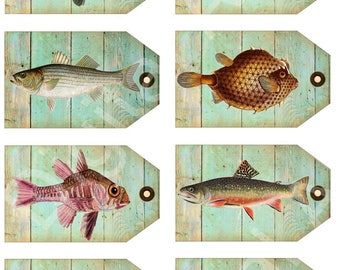 FISH Tags - Instant Download Digital Printable Scientific Fish Drawings Hang tags,cards  - DiY -parties,decor and more