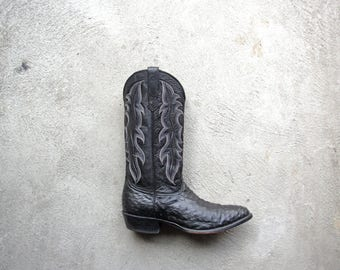 Vintage 90's Nocona boots, ostrich boots, black cowboy boots, ostrich leather, size men's 10.5 / 10