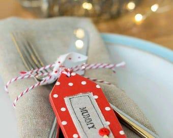 Christmas place setting, table setting, table name, Christmas gift tag