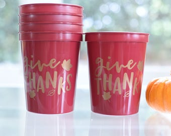 Give Thanks Thanksgiving Dinner Party Cups, Friendsgiving Party Favors, Thanksgiving Dinner Favors, Fall Party Ideas, 16 oz Stadium Cup