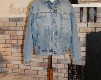 Vintage Men's Guess Jean Jacket, Stonewashed Denim Jacket, American Cut Guess USA