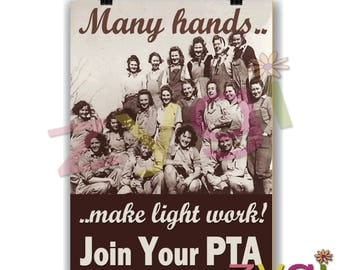 Printable PTA poster- Your pta needs you- Vintage style- Printable- you print- INSTANT DOWNLOAD
