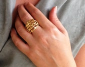 Gold Statement Ring, Uniq...
