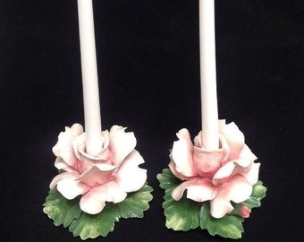 2 Nuova Capodimonte ROSE CANDLE HOLDERS  flawless bright colors