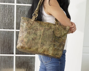 Leather Tote Bag, Leather Laptop Bag, Leather Handbag, Leather Crossbody Bag, Leather Tote bag, Leather purse, Nora L, Distressed Green