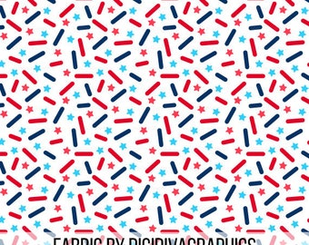 4th of July Donut Sprinkles Fabric by the Yard - Ice Cream Red and Blue Sprinkle Independence Day Pattern Print in Yard & Fat Quarter
