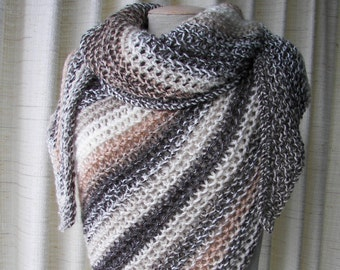 Hand knit Asymmetrical Shawl Triangle Scarf Wrap in BIEGE BROWN Neutral colors shades / Color Block Stripes