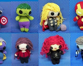 Avengers full set amigurumi style 8 PDF crochet patterns - Iron man Captain america, Thor, Hulk, Black widow...