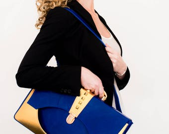 Regalis Laptop Bag. Royal Blue and Metallic Gold Leather. Pyramid Studs. Detachable Strap and Handle. Work Handbag