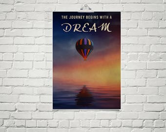 Large 18x24 Poster Hot Air Balloon Art Inspirational Quote Poster Art Child's Room Decor
