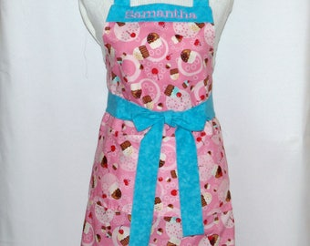 Petite Cupcake Apron, Pink & Teal Ladies Apron, Cupcakes and Cherries, Custom Personalized With Name, No Shipping Fee, Ships TODAY AGFT 1070