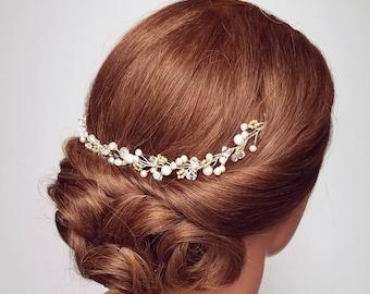 Bridal Headpiece, Hair Vine, Gold Hair Piece, Bridal Hair Comb, Crystal Vine Wreath, Hair Jewelry, Pearl Vine Hair Accessory, Wedding Hair