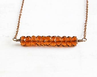 Topaz Brown Faceted Czech Glass Bead Bar Necklace on Antiqued Copper Plated Chain