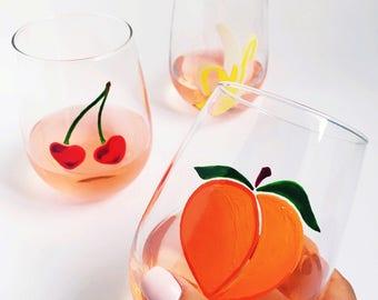 Fruit Trio- Hand Painted Wine Glasses