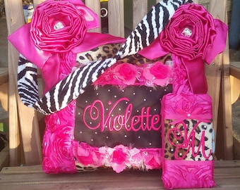 Custom Handmade Fuchsia Leopard Zebra fur Zebra Large Diaper Bag 3 Pockets Chic Whimsical Gypsy Style Baby Girl with matching Wipe Case Nice