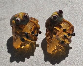 """L'atelier de jacquelina    """" 2 perles en verre filé à la flamme /handmad set  2 lampworks flowers"""