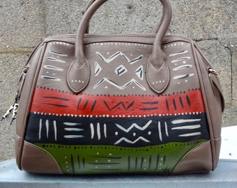 "Tribal Immunity Hand Painted Vegan Leather ""Renaissance"" Duffle Satchel Handpainted Womens Purse"