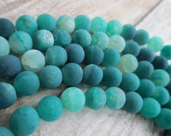 AGATE BEADS Aqua Green Natural Effervescence 5 Strands 10mm Round (195 Beads total)