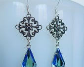 Mystic Teardrops // Silver Filigree and Vintage Blue Green Crystal Earrings, 1950s Gems, Bohemian Bohochic Bridal Bride Ombre Gypsy Art Deco