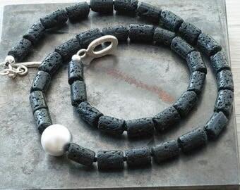 Minimalist Lava Stone Necklace, Modern Chic Black Stone Necklace, Unisex Simple Black Necklace, Lava Jewelry,  Unique Statement Necklace