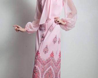 vintage 70s boho maxi dress ascot bow sheer long sleeves pink paisley border print SMALL S