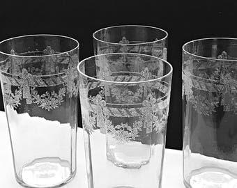 2 Needle Etched Optic Glass Tumblers Ice Tea Glasses Water Glasses