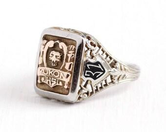 Sale - Vintage 10k White & Rose Gold Yukon HS Filigree Signet Ring - Size 5 Art Deco Dated 1931 Black Enamel Cat Class School Fine Jewelry