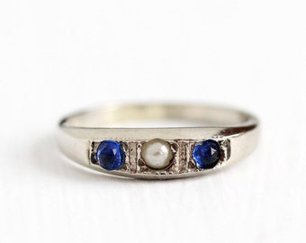 Sale - Vintage 10k White Gold Simulated Sapphire & Seed Pearl Baby Ring - Size 1 Art Deco 1930s Midi Children's Kiddie Kraft Fine Jewelry