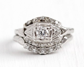 Engagement Ring Set - Vintage 1940s Art Deco 14k White Gold .26 CTW Diamond - Size 5 3/4 Wedding Band Classic Bridal Fine Matching Jewelry