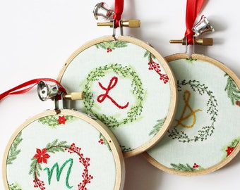 Personalized Ornament. Christmas Decoration. Embroidered Hoop Ornament. Family Monogram Wreath. Custom Ornament with Letter. Family Ornament
