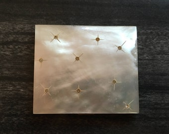 Mother of Pearl Compact Starburst Rhinestones Powder Gold Tone MCM Mid Century Modern