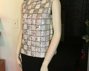 Sequined Checkered Shirt Vest 1950's Cream Silver Pearls Back Zip Size Large