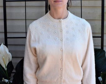 Vintage 50's Heavily Beaded Ivory Wool Angora Cardigan Sweater by EMBE Size M