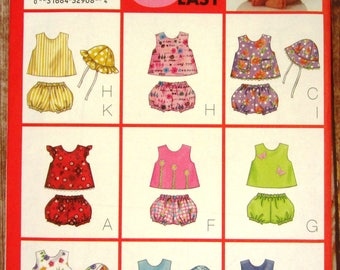 Easy to Sew Infant Girls Top, Panties and Hat Sizes NB S M Butterick Pattern 6954 UNCUT