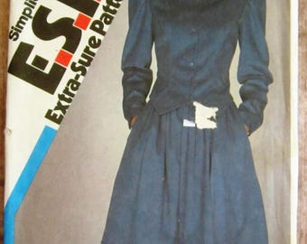 Vintage 1980s Misses Steampunk Victorian Style Dress, Fitted Two-Pieces Sizes 10 12 14 Simplicity Pattern 6073 UNCUT
