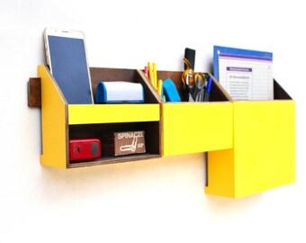 Wood wall organizer Yellow Dark Walnut Organizer, Wall hanging Mail Holder, Pen holder, Home Office wall hanger, Yellow box, Office decor