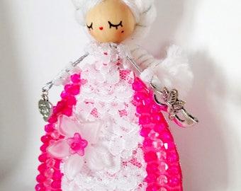 Marie Antoniette doll brooch/Brooch doll/ Fairy doll/Handmade doll/felt doll