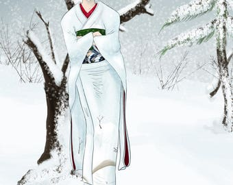 Original Anime and Manga Quiet Wintry Scene with Snowflakes and Kimono - In the Winter Forest