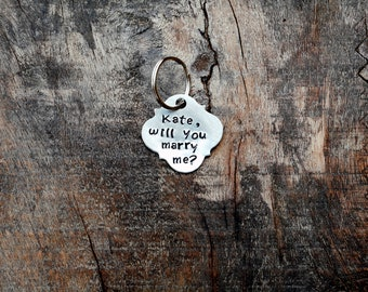 PUPPY PAWPOSAL Custom wording. Hand Stamped Metal Pet Tag. Unique Proposal Idea. Marry Me Puppy Proposal. Silver Quatrefoil Shape Dog Tag.
