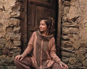Organic fleece  Veg Dye Hoodie Pullover Warm cozy Tribal Earthy Ethnic