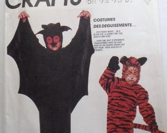 Adult's Bat and Cat Costume Pattern - McCall's 3399 - Size Medium, Chest/Bust 36 - 38, UNCUT