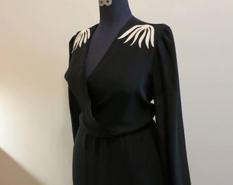 Dress black wrap with white floral shoulder accents disco meets film noir wrap sheer XL