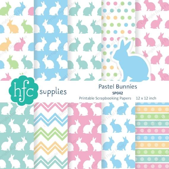 Pastel Bunnies Digital Papers Printable Scrapbook Papers Rabbit