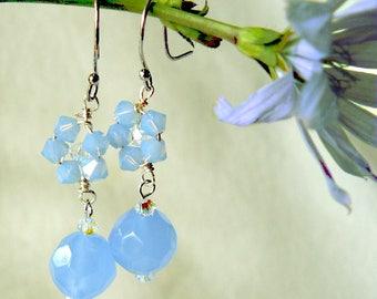 Blue Glass Beaded Flower Earrings