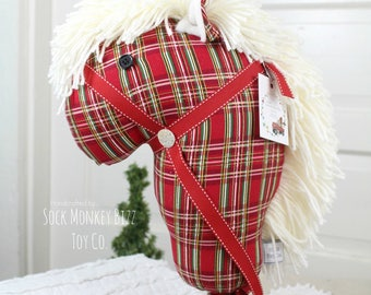 Handmade Child's Stick Horse, Classic Christmas Plaid Hobby Horse Ride-On Toy - More Colors to Choose From