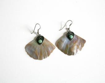 Indian Shell Fan Earrings